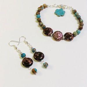 MUSE Medallion Jasper Bracelet & Earrings Set